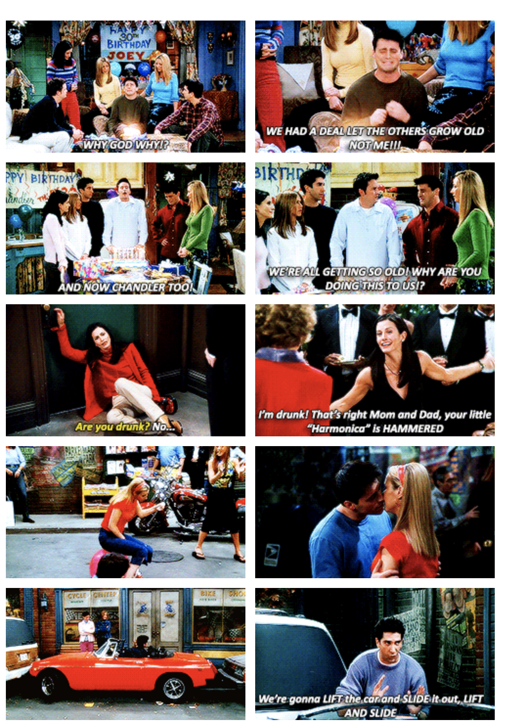 Thirty things to do in your thirties. the friends episode when they all turn 30