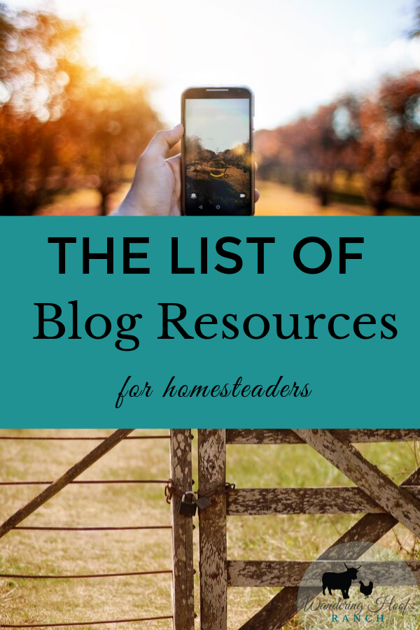 The list of blog resources for homesteaders