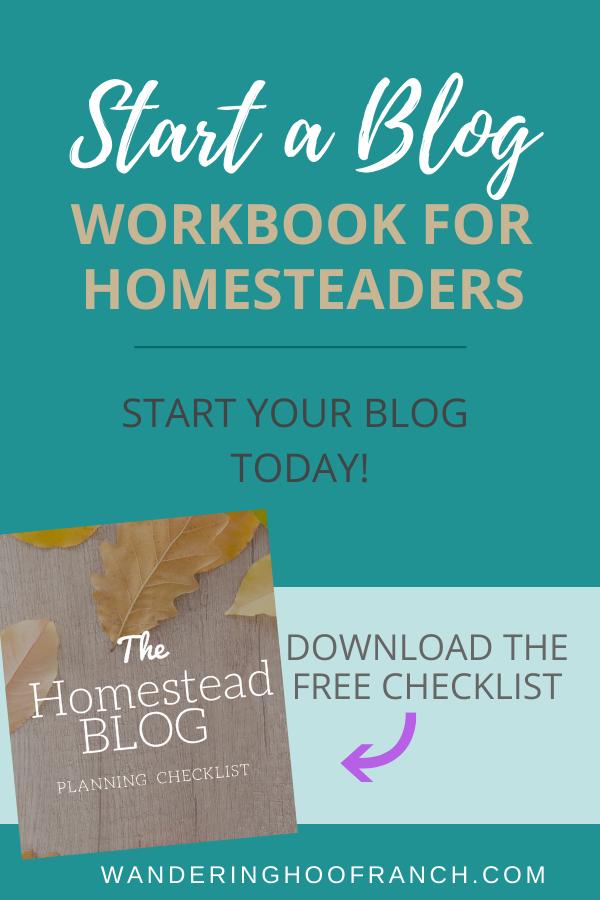 Start a Blog Workbook for Homesteaders Planning Checklist free printable