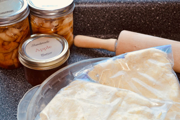 If making a pumpkin pie make puree ahead of time and freeze, or can your own apple pie filling and apple butter for a simple throw the pie together desert.
