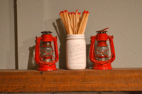 painted mason jar and matches