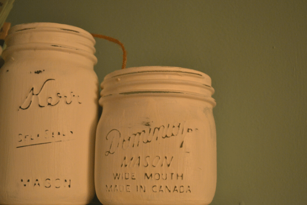 painted mason jars in white