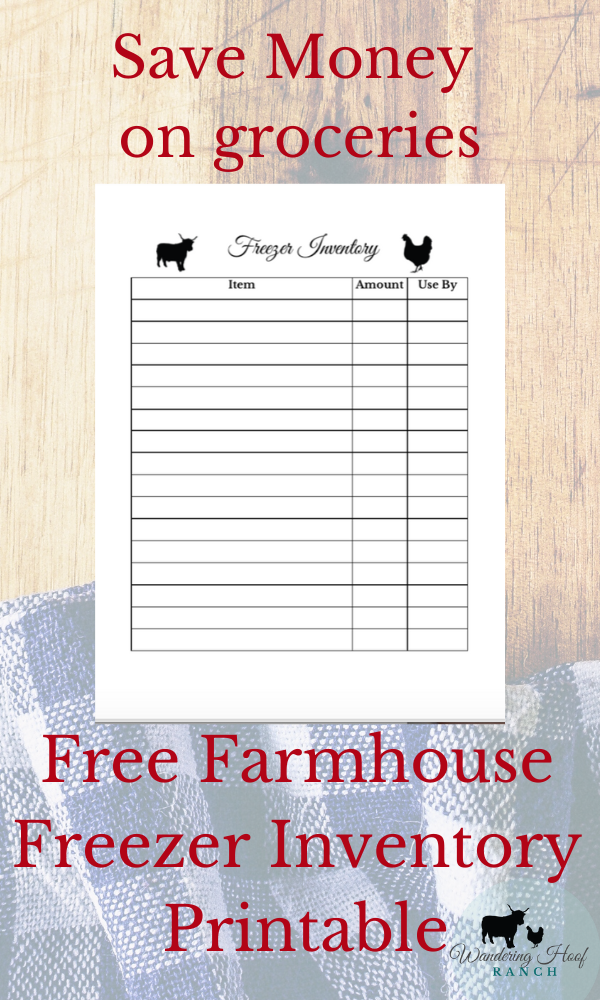 SAVE MONEY ON GROCERIES FREEZER INVENTORY PRINTABLE