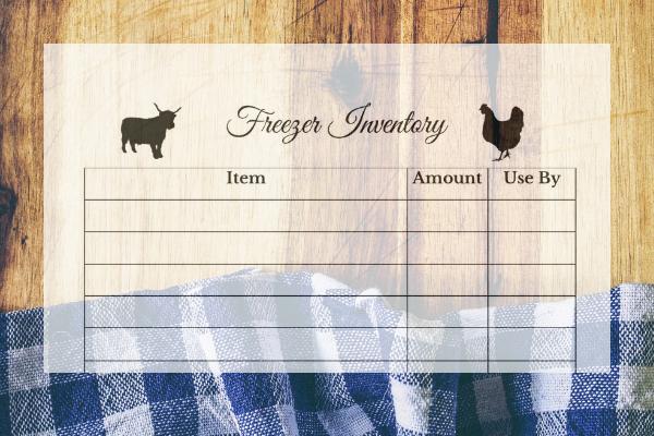 free freezer inventory printable sheet