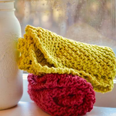 diagonal knit dishcloth