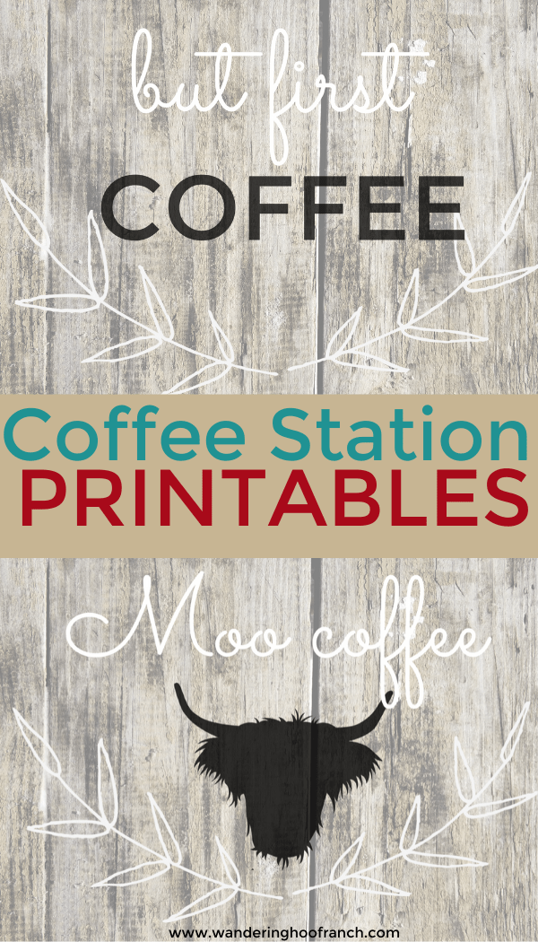 Free Farmhouse Style Coffee Bar Printables and Decor Roundup Ideas