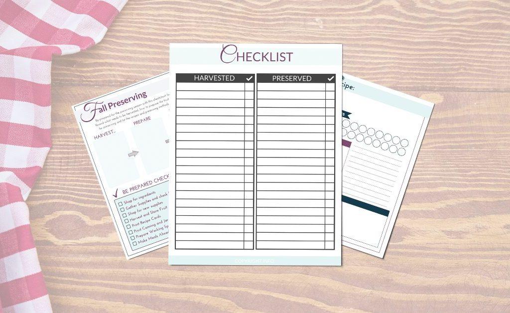 preserving checklist freebie