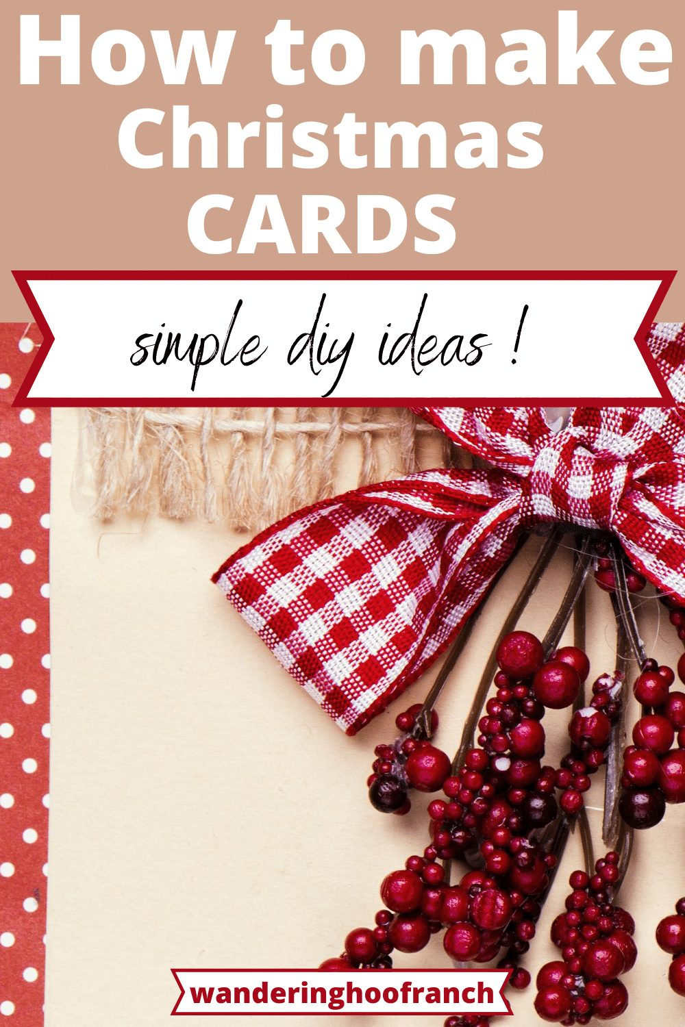 homemade christmas card with red ribbon