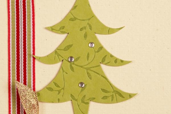 handmade Christmas card ribbon and Christmas tree