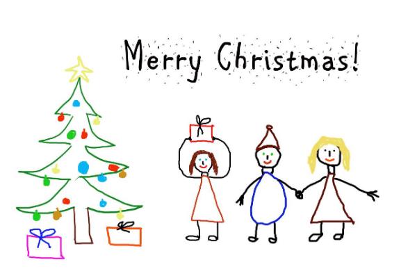 clip art drawn merry Christmas card