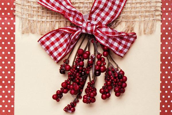 burlap, gingham ribbon, holly and red polka dot handmade Christmas card