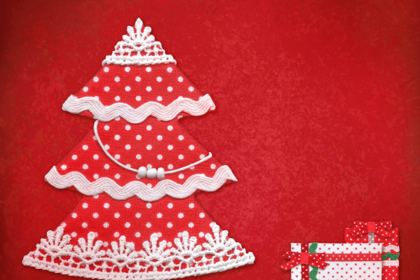 Christmas tree cut out from old cards