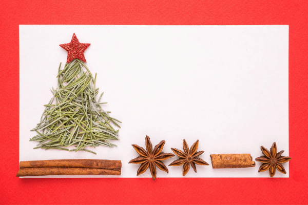 Christmas tree with food elements, rosemary cinnamon stick and anise seeds