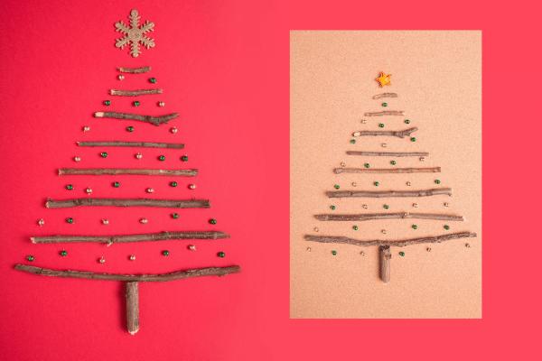 handmade Christmas card, stick tree and sticker ornaments