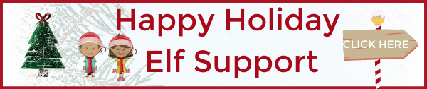 happy holiday elf support holiday help