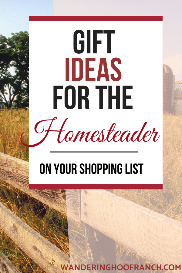 gift ideas for the homesteader on your list pin image of barn in a field with text overlay